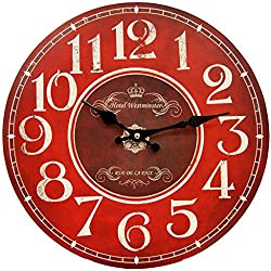 HDC International 05-0082 Wall Clock, Red, 13 Round