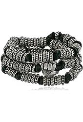 Ettika Men's Black Leather and Silver Colored Donut Beads Wrap Around Bracelet
