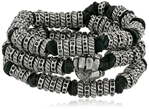 Ettika Leather Black - Ettika Men's Black Leather and Silver Colored Donut Beads Wrap Around Bracelet