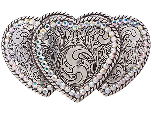 Belt Buckle Heart Rhinestone - Nocona Women's Triple Hearts Belt Buckle, Silver, OS