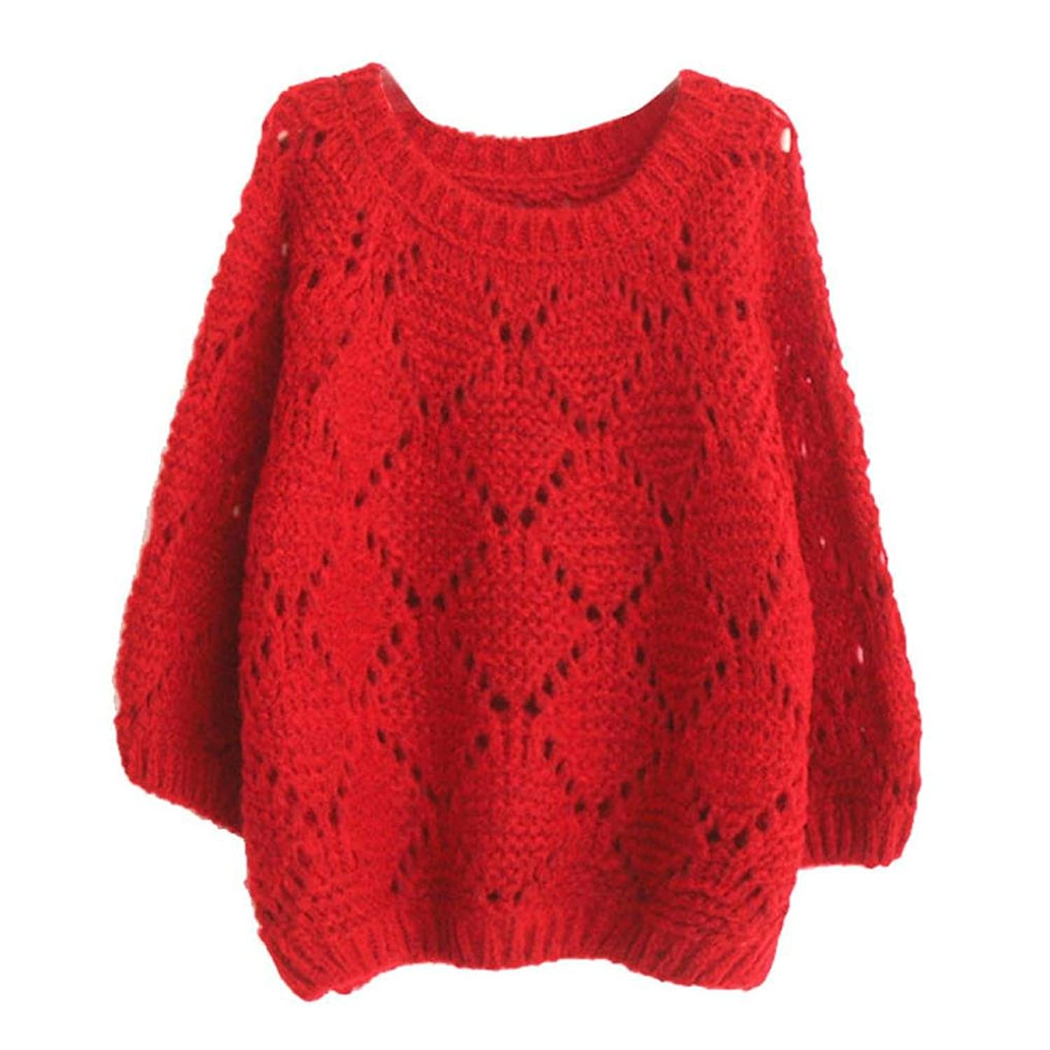 Coper@ Womens Pullover Knit Sweater Batwing Sleeve Cardigan