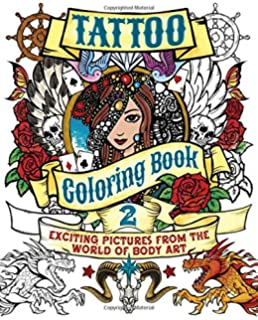 tattoo coloring book 2 exciting pictures from the world of body art chartwell coloring - Tattoo Coloring Book