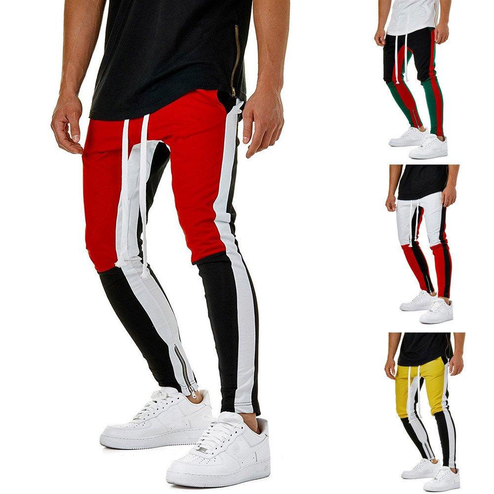 Farjing Men's Sweatpants Hot Sale,Fashion Sport Jogging Fitness Pant Casual Loose Drawstring Pant(XL,Yellow)
