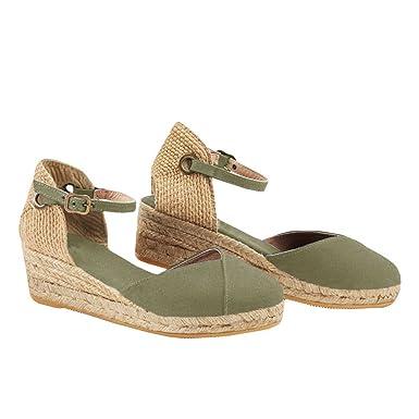 a3c8fb3bb138 PiePieBuy Womens Espadrille Platform Wedge Sandals Closed Toe Mid Heel  Ankle Sandals (10 B(