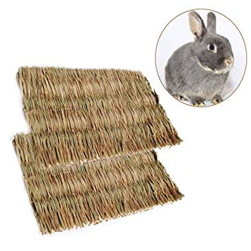 Petacc Grass Hamster Bed Woven Small Animal Mat Safe Pet Chew Toy for Hamster L Rabbit Hedgehog and Guinea Pig