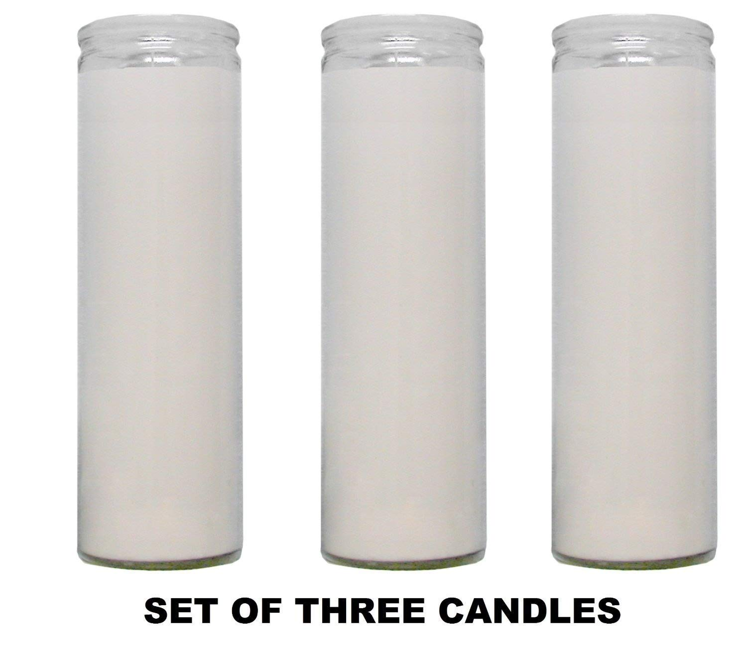 White Paraffin Wax Candles Clear Glass 5-7 Days Candles (Pack of 3)