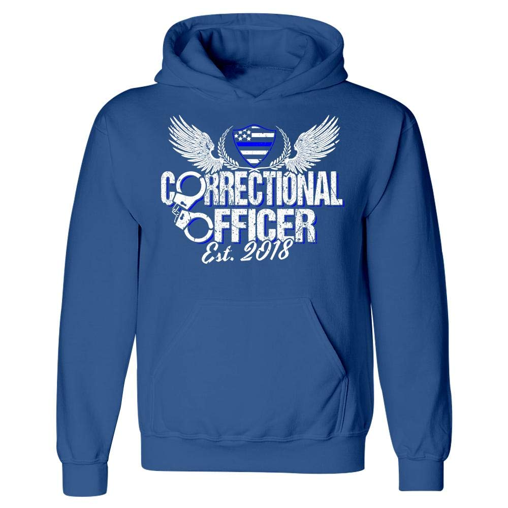 Merch Chimp Corrections Officer Graduation Blue and Silver Line Flag Design 2018 Hoodie