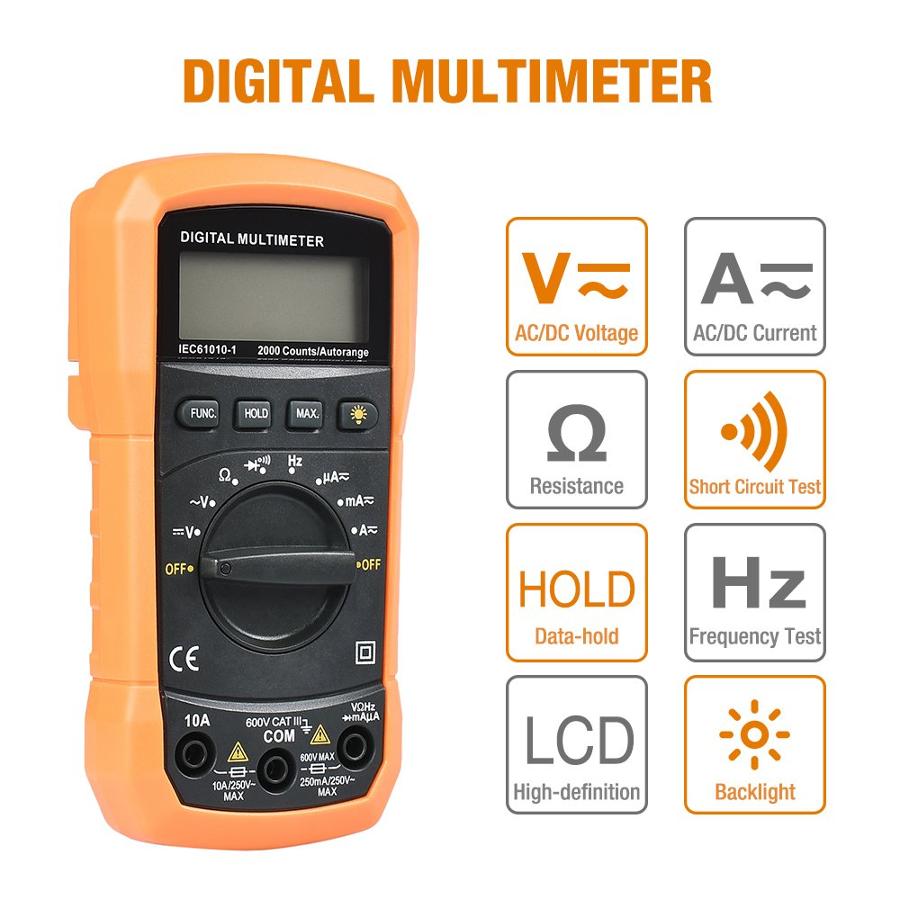 Digital Multimeter, BEBONCOOL Auto-Ranging AC DC Voltmeter, Electronic Amp Volt Ohm Voltage Tester with Diode and Continuity Test Scanners, Backlight LCD Display (Orange) by BEBONCOOL (Image #2)