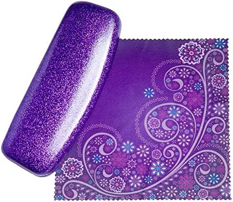The Original Dazzling Womens Hard Shell Eyeglass Case By Spunky Soul | Coated Smooth Glitter | Bonus Cleaning Cloth