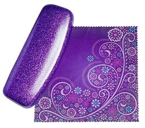 Mystic Purple Small Eyeglass Case by SPUNKYsoul Coated Smooth Glitter | Bonus Cleaning - Designer With Bling Eyeglasses