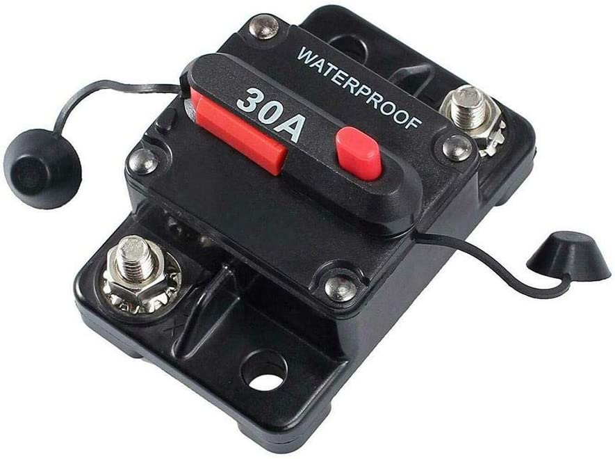 12V-24V DC Waterproof Car Circuit Breaker Trolling Bentrance 30 Amp with Manual Reset Suitable for Motor Auto Car Marine Boat Bike Stereo Audio 30A