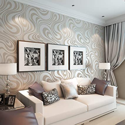 Qihang Modern Luxury Abstract Curve 3d Wallpaper Roll Mural Papel De Parede Flocking For Striped Cream White Silver Color 0 7m 8 4m 5 88sqm
