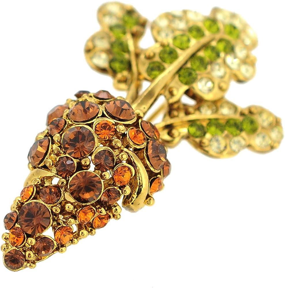 Fantasyard Golden Brown Carrot Crystal Pin Brooch and Pendant