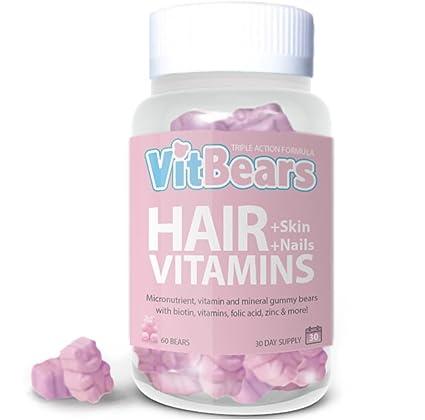 VITBEARS - VITAMINAS para el pelo, la piel y la nariz, 60 unidades (