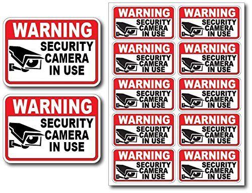 Free Surveillance Decal - 12Pk Security CAM in USE Surveillance Burglar Alarm Decal Warning Vinyl Stickers
