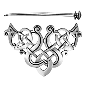 Lurrose Celtic Triangle Hair Clip Vintage Silver Hair Stick Celtic Knot Hair Barrette Wedding Jewelry Hairpin for Women