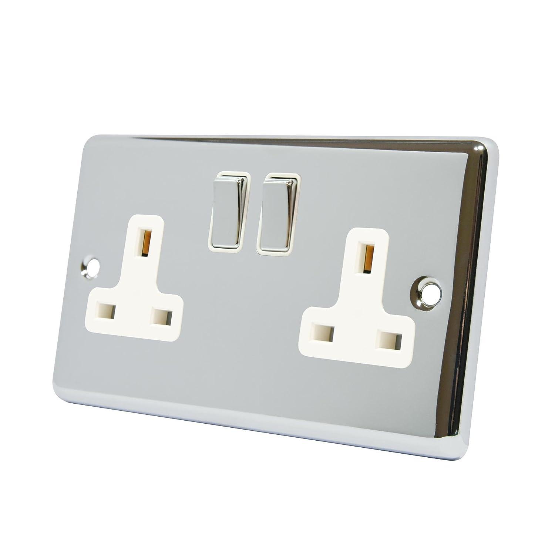 13A Double Plug Socket 2 Gang Polished Chrome Classic - White ...