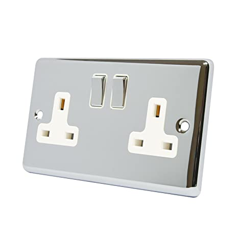13A Double Plug Socket 2 Gang Polished Chrome Clic - White ...