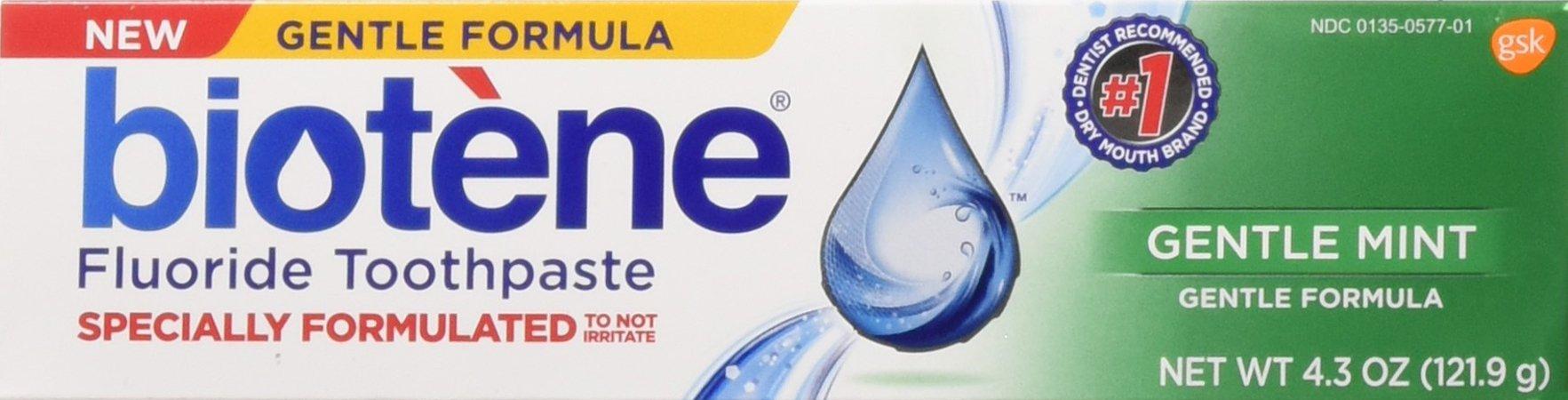Biotene Toothpaste Gentle Mint Fluoride 4.3 Oz, 2 pack