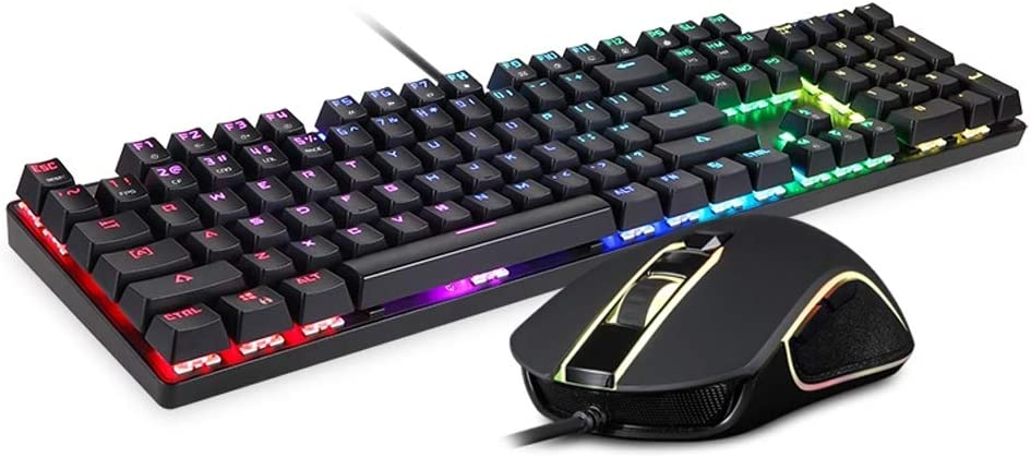 Ysswjzz Mechanical Gaming Keyboard,RGB Backlit Keys,Gaming Mechanical Keyboard Adjustable DPI Mouse Set with 1.8m Cable for Laptop Computer PC