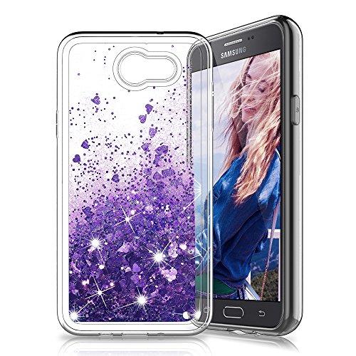 Galaxy J7 V / Galaxy Halo / Samsung Galaxy J7 2017 / J7 Sky Pro / J7 Prime Case, MP-MALL Clear Back Flowing Liquid Floating Luxury Bling Glitter Sparkle TPU Hybrid Bumper Girl's Case - Purple