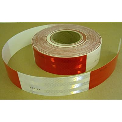 """Safe Way Traction 2"""" x 12' Roll 3M 983 Series Diamond Grade Conspicuity Trailer DOT-C2 Reflective Safety Tape Red & White 6""""/ 6"""" Pattern 983-326: Automotive"""