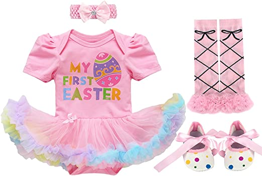 4Pcs Easter Outfit Infant Baby Girl Bunny Romper Bodysuit Tulle Tutu Skirt Leg Warmers Headband Clothes Set