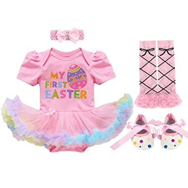 29f450d12f59b Amazon.com: IMEKIS Baby Girl First 1st Easter Outfits Colorful Eggs ...