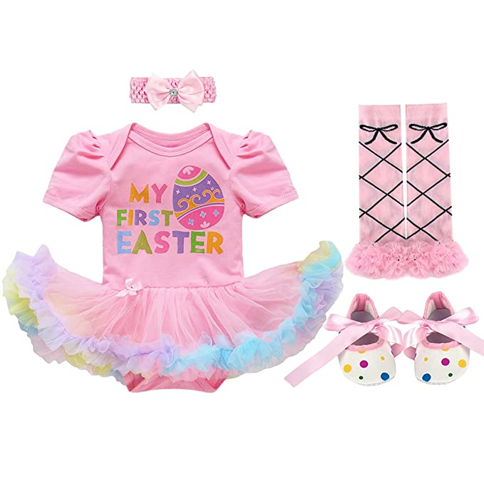 952836153 IWEMEK Newborn Baby Girls Cotton 2/3/4pcs Set My 1st Easter Bunny Eggs  Romper Tutu Dress Headband Leg Warmer Shoes Outfit Set: Amazon.ca: Clothing  & ...