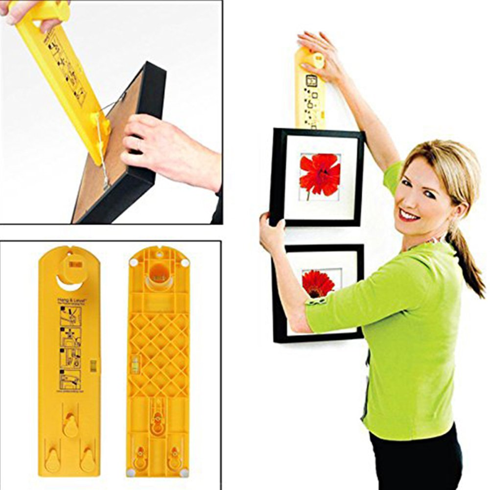 Picture Hangers, VLENIEN Picture Hanging Tool for Marking Position and Measuring the Suspension and Horizontal Wall of the Roof(Yellow)
