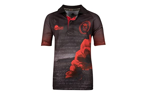 8332f175090 Samurai Army Rugby Union Flanders Field Poppy Kids Remembrance Day Rugby  Shirt - Black/Red: Amazon.co.uk: Clothing