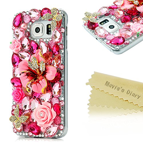 Galaxy S6 Case - Mavis's Diary 3D Handmade Luxury Colorful Shiny Bling Crystal Rhinestone Diamond Design Hard Cover Clear Case for Samsung Galaxy S6 SM-G920F (Pink Flower Double Butterfly)