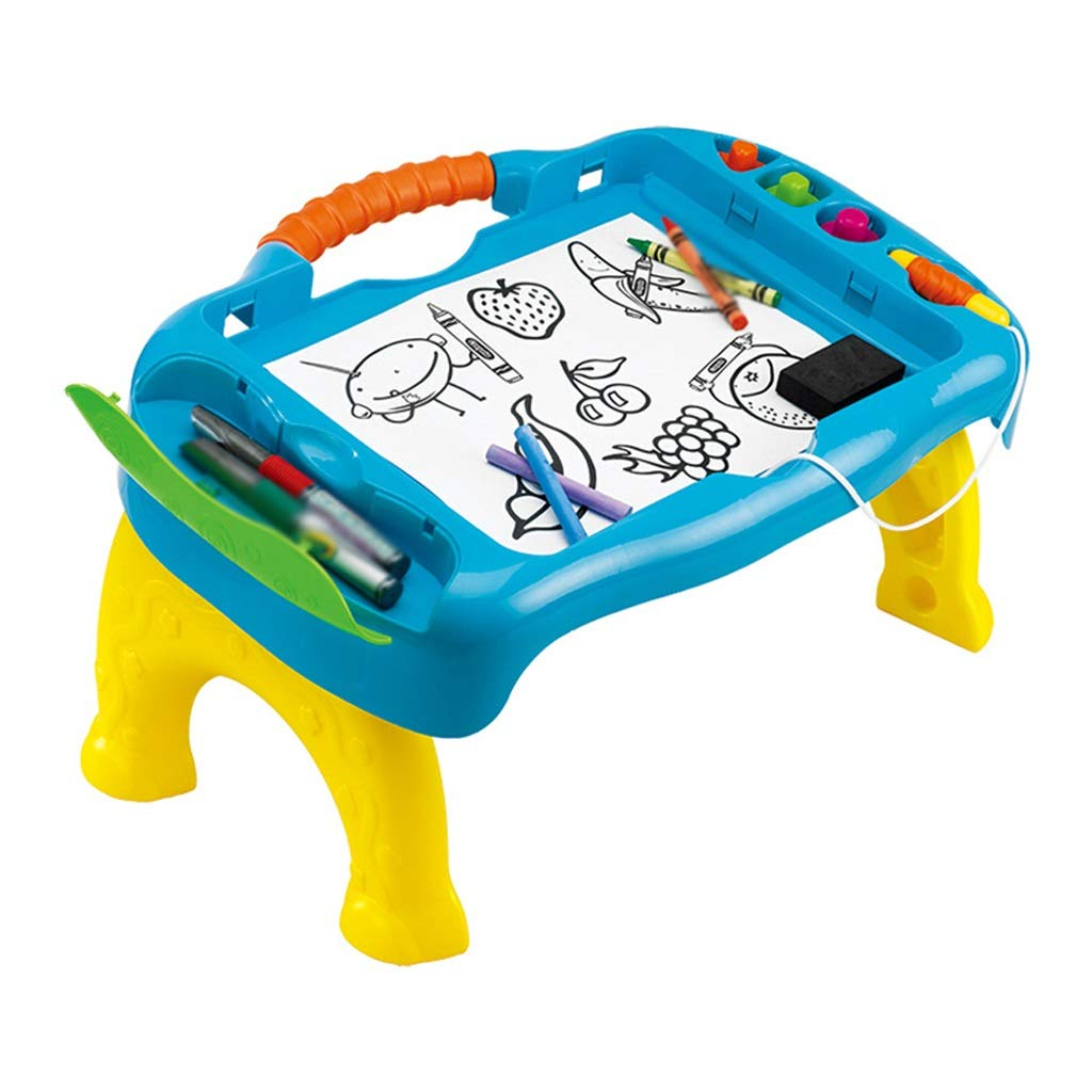 ポータブル 折りたたみ デュアル使用 スタジオ イーゼルペイント ツール 子供用 お絵かきボード ベビーペインティング おもちゃ (ランダムカラー) 49*34.2*25.6CM ブルー 513075 49*34.2*25.6CM ブルー B07Q8SXHGL