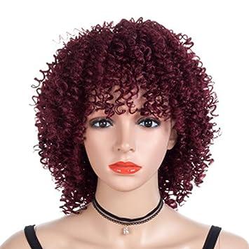wigs Pequeño Pelo Corto Rizado Pelucas Hembras Moda Esponjoso Cabeza explosiva Wine Red Headgear Fiesta de