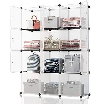 Koossy Portable Storage Shelf Cube Shelving Bookcase Bookshelf Cubby Organizing Closet Toy Organizer Cabinet Transparent