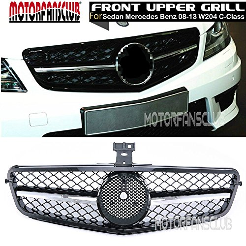 MotorFansClub Gloss Black Chrome Grill for Mercedes-Benz C-Class W204 C200 C300 C350 08-13