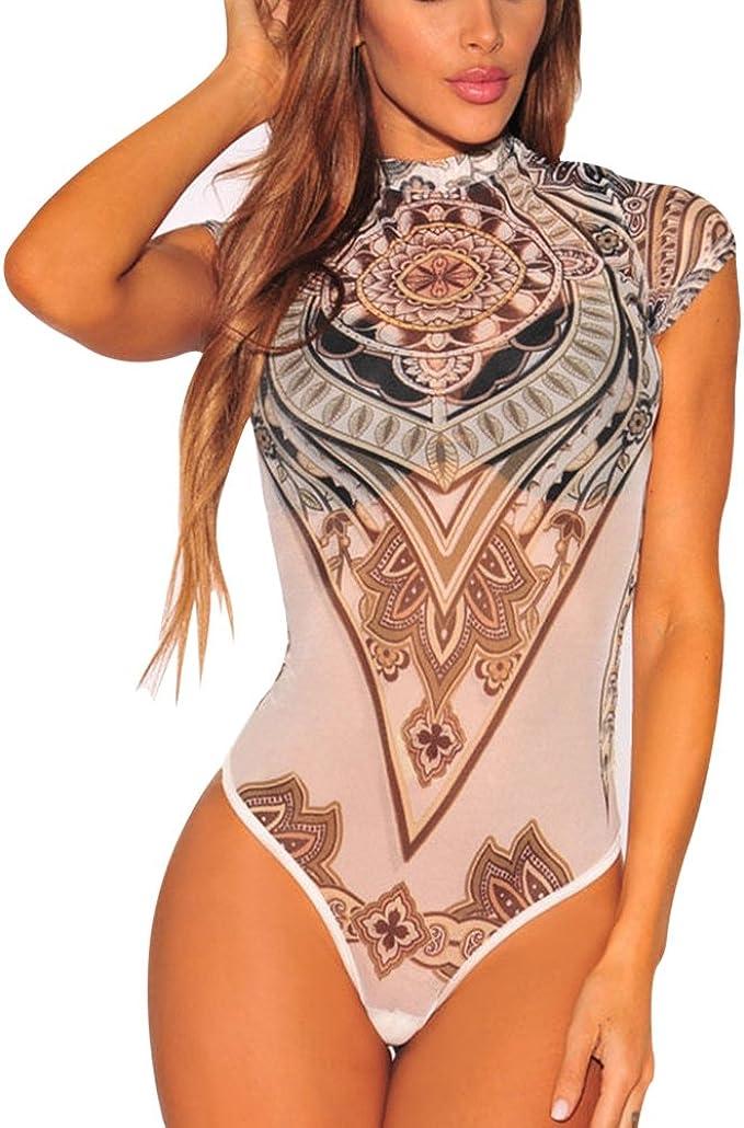 Women Bodysuit Floral Long Sleeve Leotards Fashion Skinny Elastic Shorthand Body