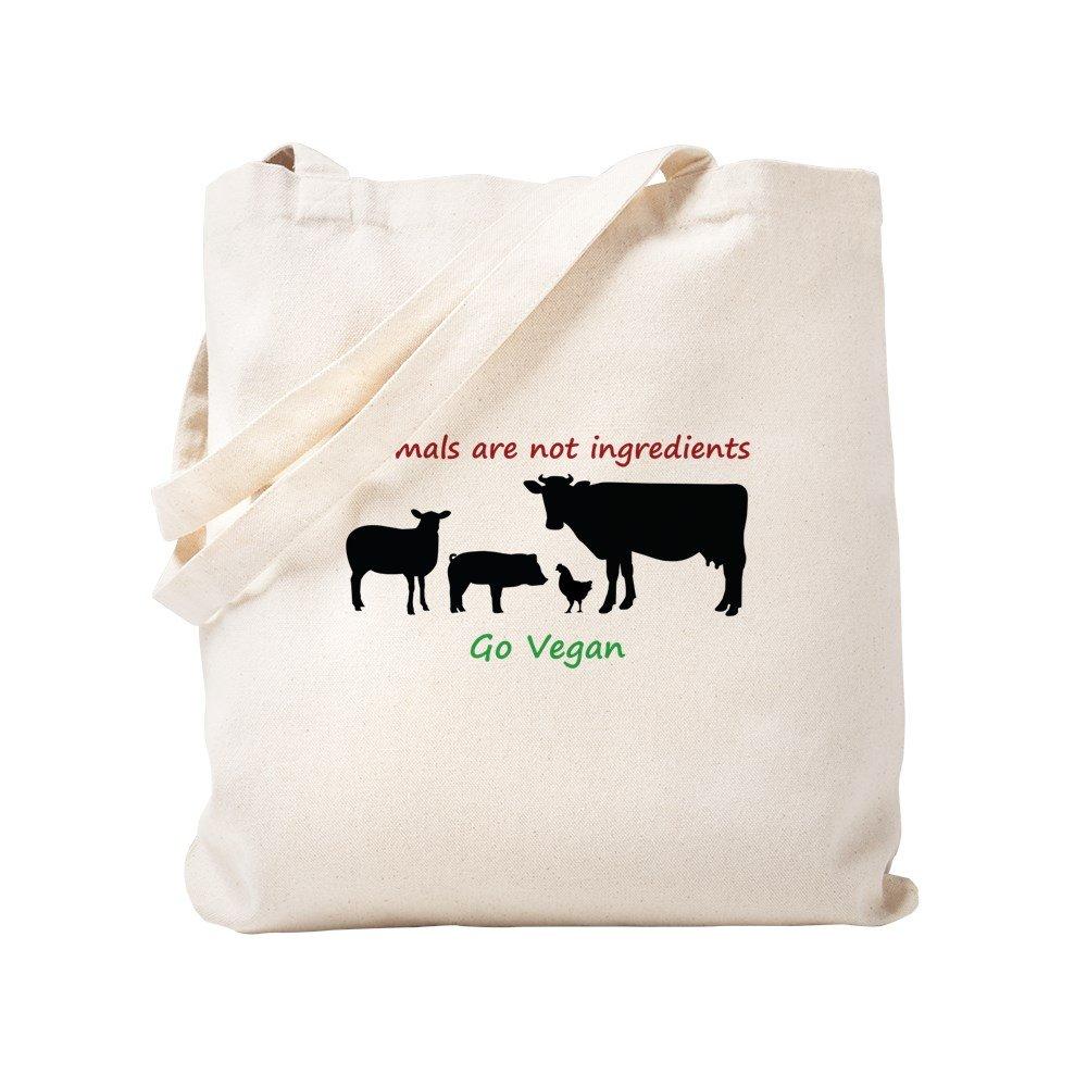 CafePress – 動物はない原料: Go Vegan – ナチュラルキャンバストートバッグ、布ショッピングバッグ S ベージュ 1532730605DECC2 B0773V9GDW S
