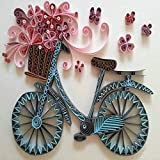 Colorful Quilling Paper Craft Kits set Tool Rolling Strips DIY Collection Home Decoration Crafts Material Package Beginner Learning Tool (Bicycle)