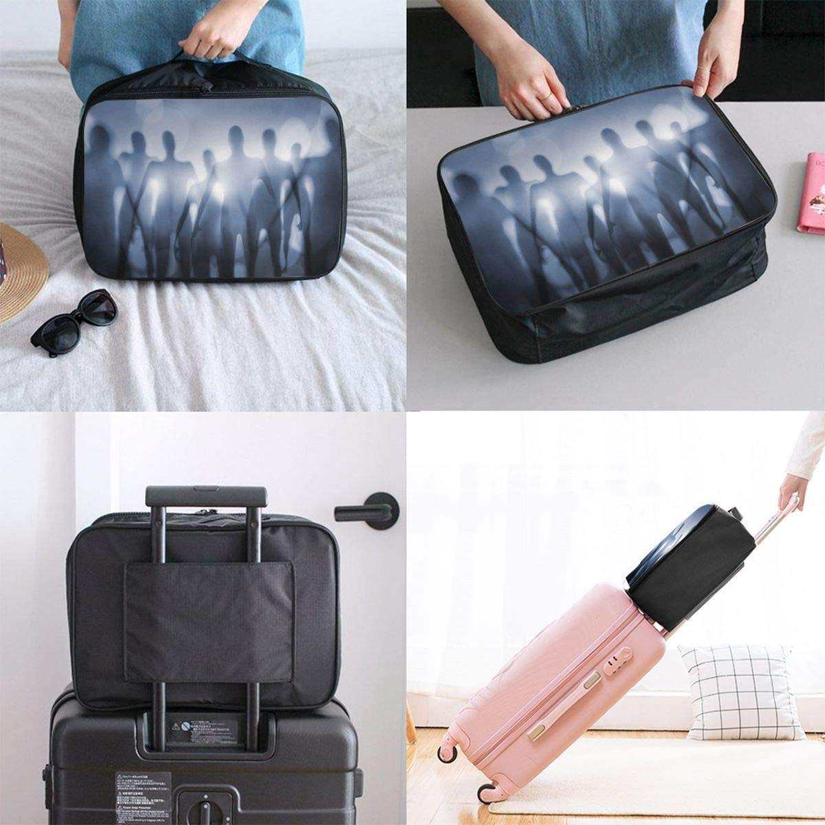 Dreamland Alien Horror Kidnapping Canvas Travel Weekender Bag,Fashion Custom Lightweight Large Capacity Portable Luggage Bag,Suitcase Trolley Bag