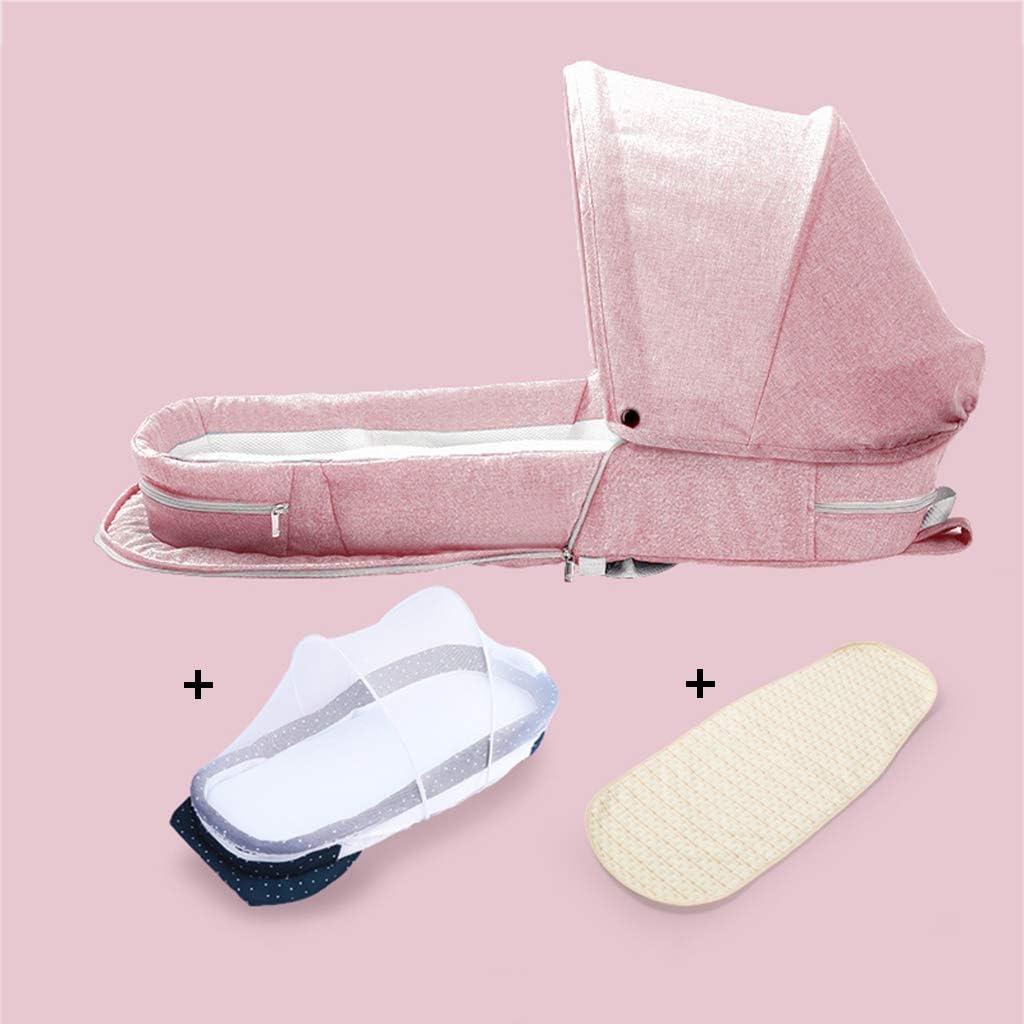 ポータブル新生児ベッド、早期教育クラス幼稚園ママトラベルストレージリュックサック - 折りたたみ可動歳の子供に適し0-2 (Color : Pink, Size : +sunshade+mosquito net+pad)