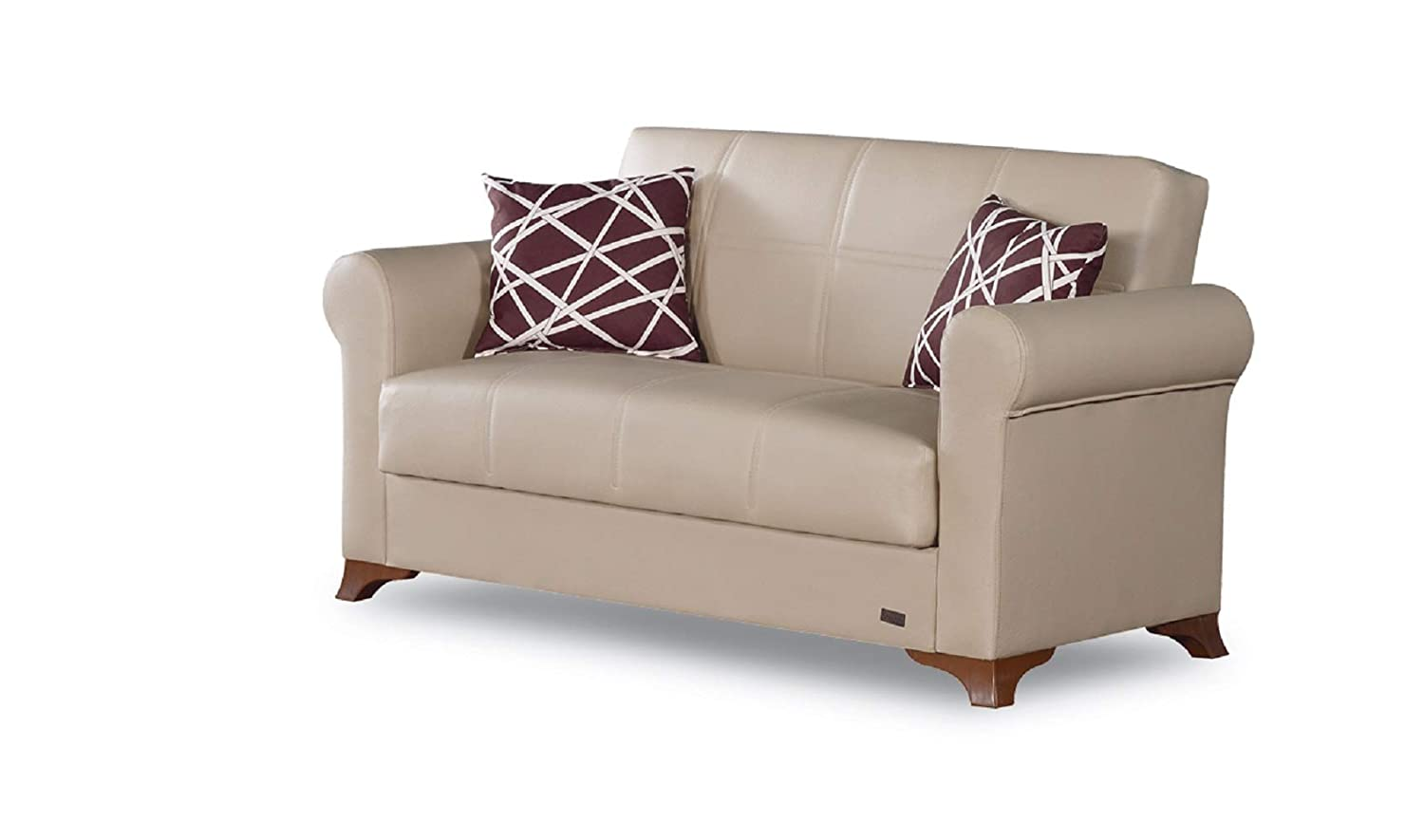 BEYAN Yonkers 2016 Collection Modern Convertible Bonded Leather Loveseat with Easy Access Storage Space, Includes 2 Pillows, Beige