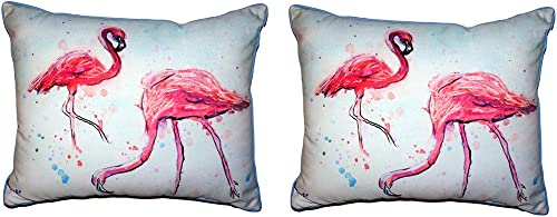 Pair of Betsy Drake Funky Flamingos Large Indoor/Outdoor Pillows 16 X 20