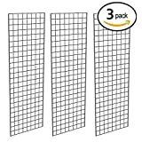 Grid Panel for Retail Display – Perfect Metal Grid for Any Retail Display, 2' Width x 6' Height, 3 Grids Per Carton (Black)