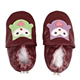 FREE FISHER Baby Girls Boys Shoes Toddler Soft Sole Prewalker First Walker Crib Shoes Baby Moccasins, Owl Green&Purple, 6-12 Months