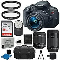 Canon EOS Rebel T5i 18.0 MP CMOS Digital Camera + EF-S 18-55mm IS STM Zoom Lens + EF-S 55-250mm STM f/4-5.6 IS Telephoto Lens + Case + Extra Battery + 2 Filters + 16GB Deluxe Accessory Bundle Explained Review Image