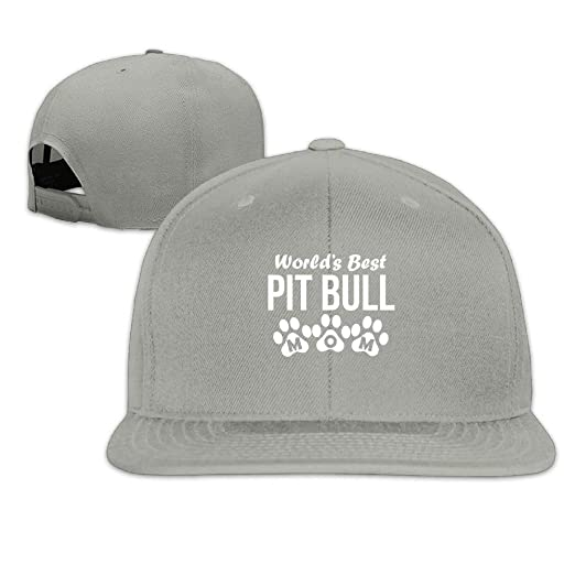 World s Best Pit Bull Mom Snapback Unisex Flat Bill Visor Baseball ... b2e2597de22