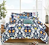 How Wide Is a King Bed Delbou Tree Duvet Cover Set, Zipper Closure with Corner Tie,Floral Duvet Cover King Size 104 by 92 inch