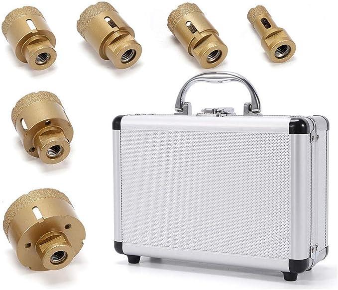 Broca Diamante Coronas perforadoras de broca de diamante (broca de baldosas Juego de broca para azulejos, 6 unidades (Diámetro de 20 - 68 mm) M14 para amoladora de ángulo, broca para granito,