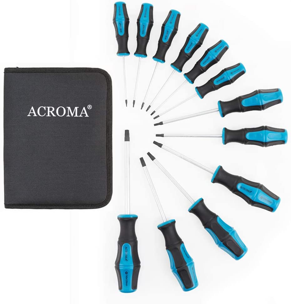 ACROMA 12-Piece Magnetic Torx Screwdriver Set with T5 T6 T7 T8 T9 T10 T15 T20 T25 T27 T30 T40 Star Screwdrivers for Phone, Computer, Automobile, Tools and Home Appliances Repairing